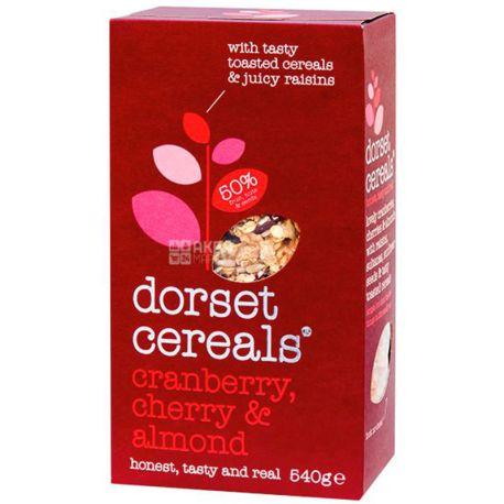 Dorset Cereals, 540 г, Мюсли Дорсет Сереалс, смесь злаков, клюква, вишня и миндаль, сухой завтрак, быстрого приготовления