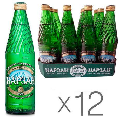 Нарзан Элита, Вода минеральная сильногазированная, 0,5 л, Упаковка 12 шт.