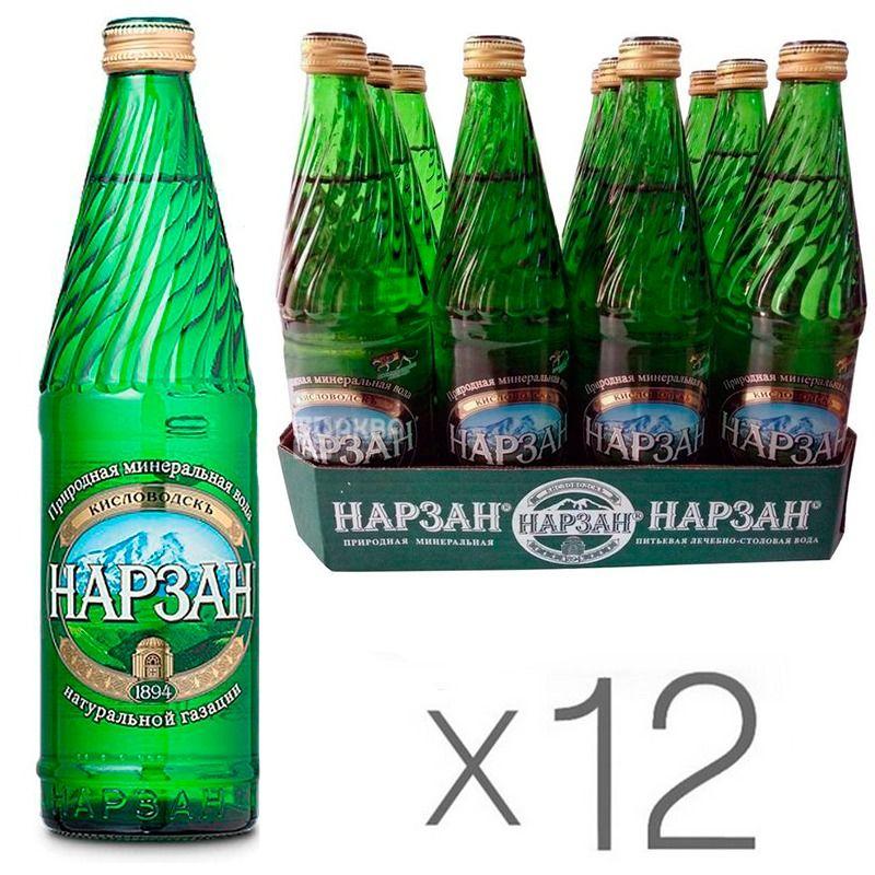 Нарзан Элита, 0,5 л, Упаковка 12 шт., Вода минеральная сильногазированная, стекло