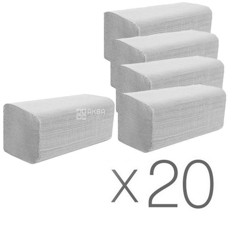 Wellis, 20 упаковок по 200 листов, Бумажные полотенца Велис, однослойные, V-сложения, серые, 25х24 см
