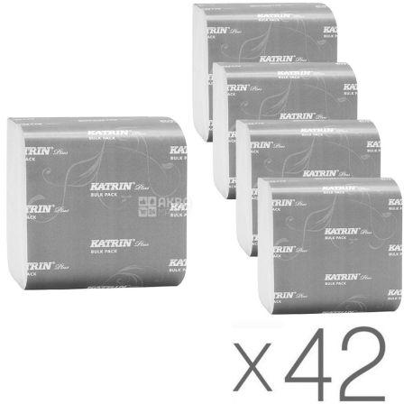 KATRIN Plus, 42 упаковки по 200 листов, Туалетная бумага Катрин Плюс, 2-х слойная, 25.5х9.9 см
