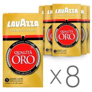 Lavazza, Qualita Oro, 8 шт. по 250 г, Кава Лаваца, Куаліта Оро, середнього обсмаження, мелена