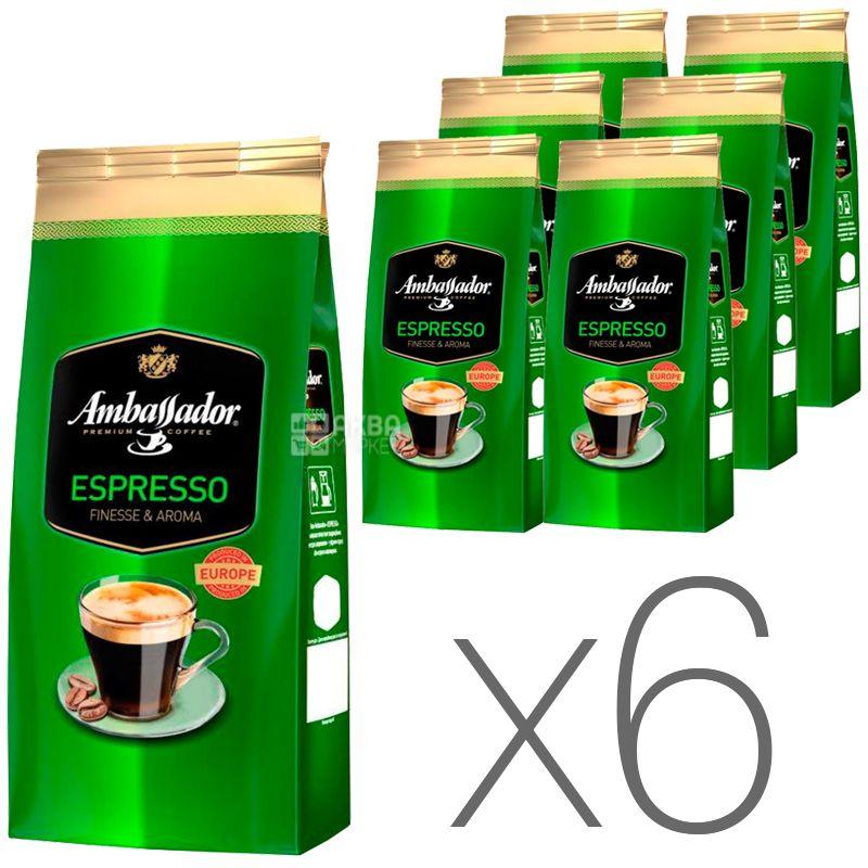 Ambassador Espresso, 1 кг, Упаковка 6 шт., Кофе в зернах Амбассадор Эспрессо