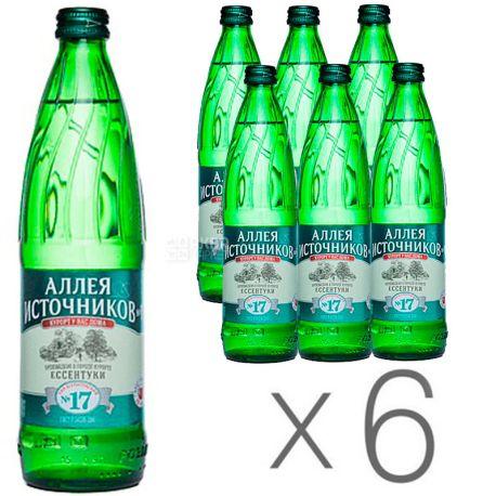Аллея Источников, Ессентуки №17, 0,5 л, Упаковка 6 шт., Вода минеральная газированная, стекло