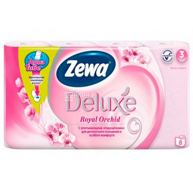 Zewa Deluxe Royal Orchid, three-ply toilet paper, 8 rolls