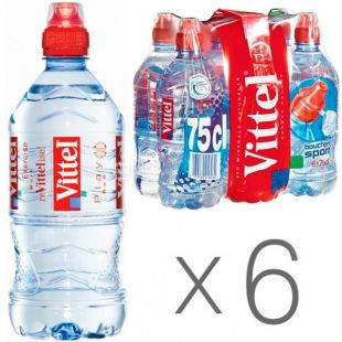 Vittel Спорт, 0,75 л, Упаковка 6 шт., Віттель, Вода мінеральна негазована, ПЕТ