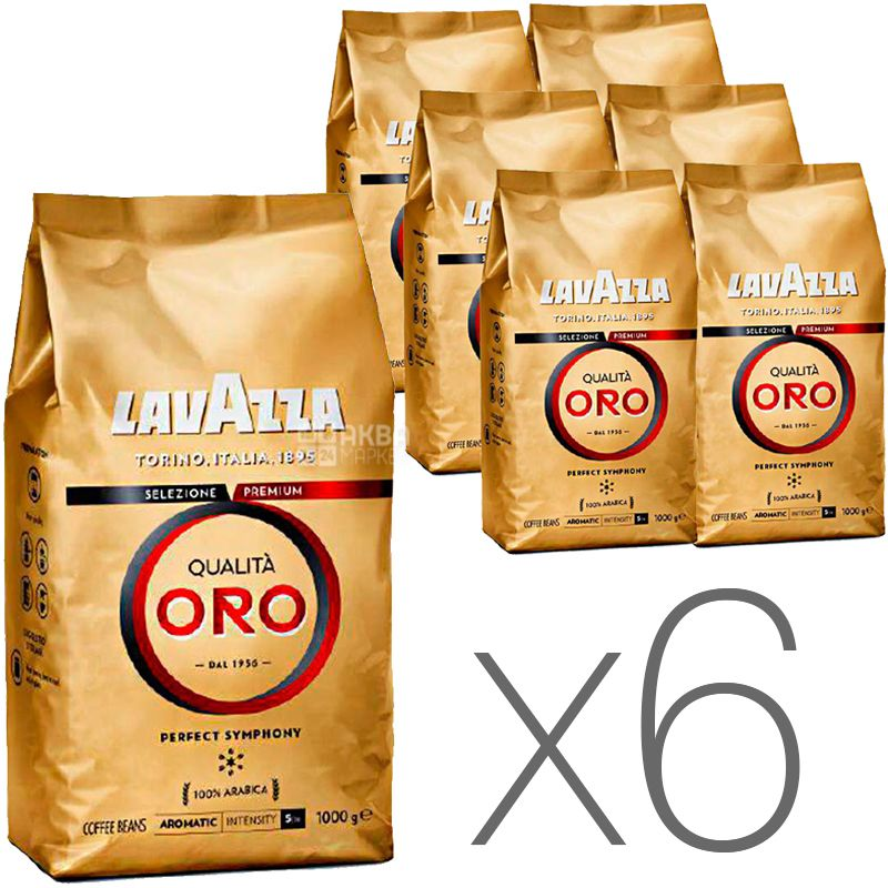Lavazza, Qualita Oro, упаковка 6 шт. по 1 кг, Кофе Лавацца, Куалита Оро, средней обжарки, в зернах