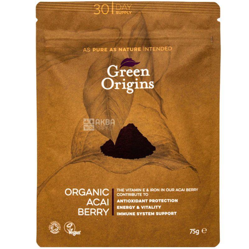 Green Origins, Порошок из ягод Асаи органический, 75 г