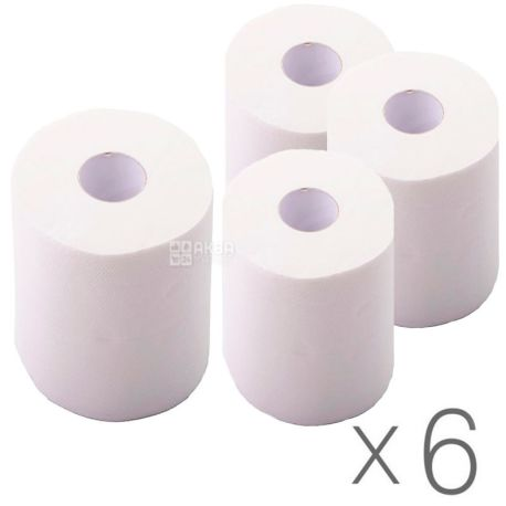 Mirus, 6 упаковок по 1 рул., Бумажные полотенца Мирус, 2-х слойные, без перфорации, 150 м