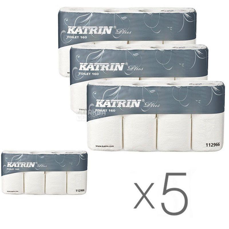 Katrin Plus, Упаковка 5 шт. по 8 рул., Туалетная бумага Катрин Плюс, 2-х слойная
