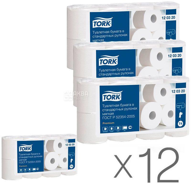 Tork Premium, Упаковка 12 шт. по 8 рул., Туалетная бумага Торк Премиум, 2-х слойная