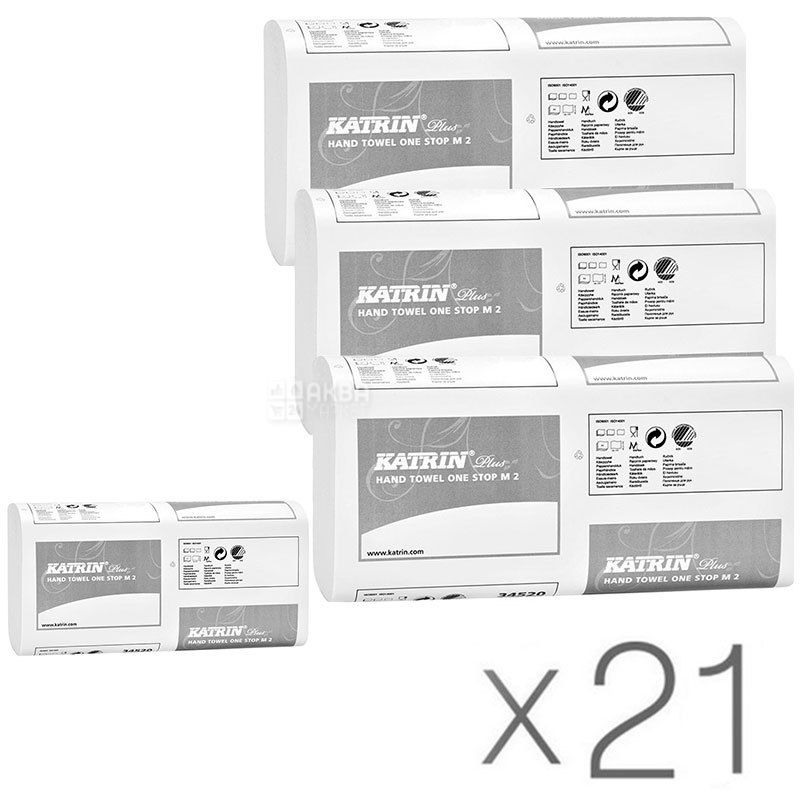 Katrin Plus, 21 упаковка по 145 листов, Бумажные полотенца Катрин, 2-х слойные, Z-сложения, белые, 25х24 см