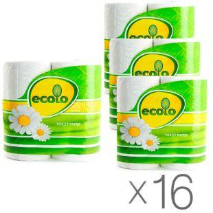 Ecolo, Упаковка 16 шт. по 4 рул.,Туалетная бумага Эколо, 2-х слойная