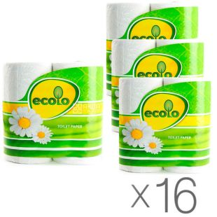 Ecolo, Упаковка 16 шт. по 4 рул., Туалетний папір Еколо, 2-х шаровий