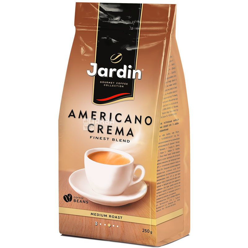 Jardin Americano Crema, 250 г, Кофе Жардин Американо Крема, светлой обжарки, в зернах