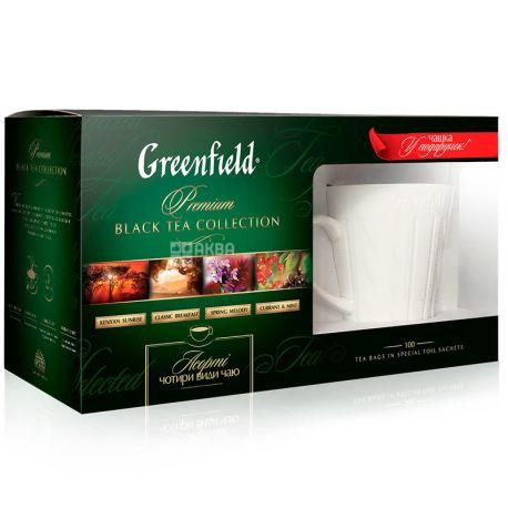 Greenfield, Black Collection, 4 види по 25 пак., Грінфілд, Подарунковий набір 100 пак. з чашкою