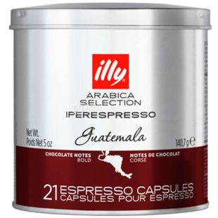 illy, Guatemala Arabica Selection, 21 х 6,7 г, Кофе Илли, Гватемала, в капсулах, ж/б