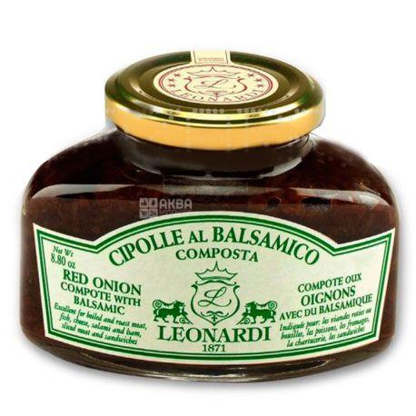 Leonardi, Красный лук в сахарном сиропе с бальзамическим уксусом, 240 г