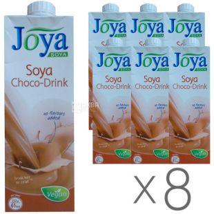 Joya Soya Chocolate, Упаковка 8 шт. по 1 л, Джоя, Соевое молоко, с шоколадом