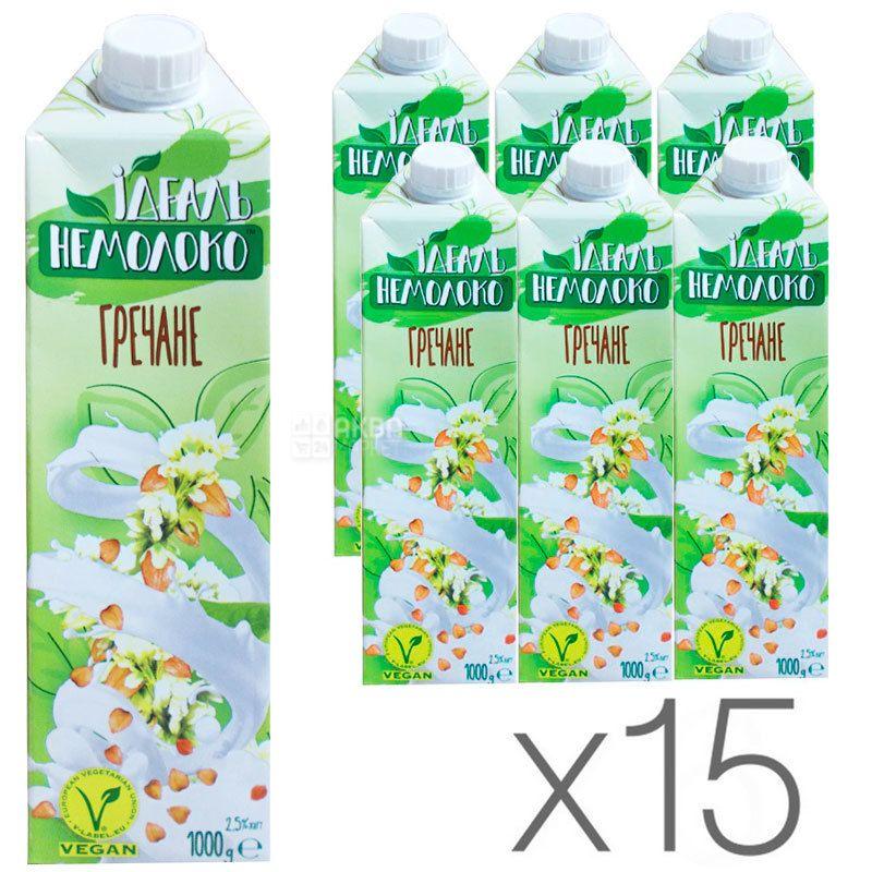 Идеаль Немолоко, Гречневое, 2,5%, 1 л, Молоко ультрапастеризованное, безлактозное, Упаковка 15 шт.