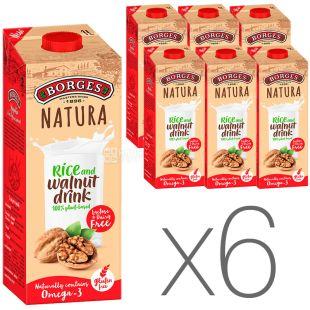 Borges, Rice and walnut drink, 1 л, Боргес, Напій на основі волоського горіха і рису, безлактозний, Упаковка 6 шт.
