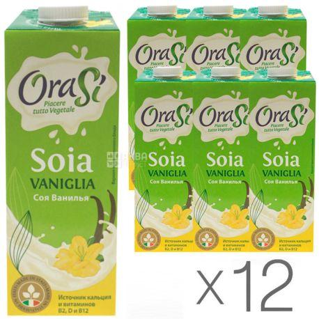OraSi, Soia Vaniglia,1 л, ОраСи, Напиток соевый с ванилью и кальцием, Упаковка 12 шт.