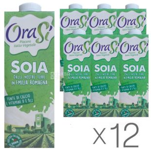OraSi, Soia, 1 л, ОраСі, Соєвий напій, з вітамінами і кальцієм, Упаковка 12 шт.