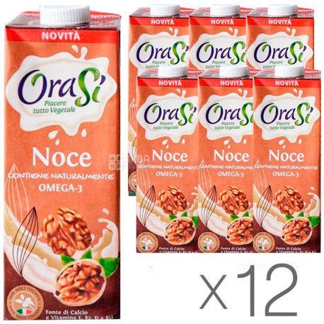 OraSi, Walnut Noce, 1 л, ОраСи, Соевый напиток с грецким орехом и Омега-3, Упаковка 12 шт.