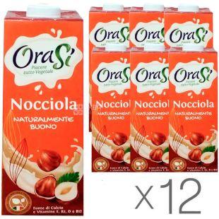 OraSi Nocciola, 1 л, Напій рослинний, Зі смаком лісових горіхів, упаковка 12 шт.