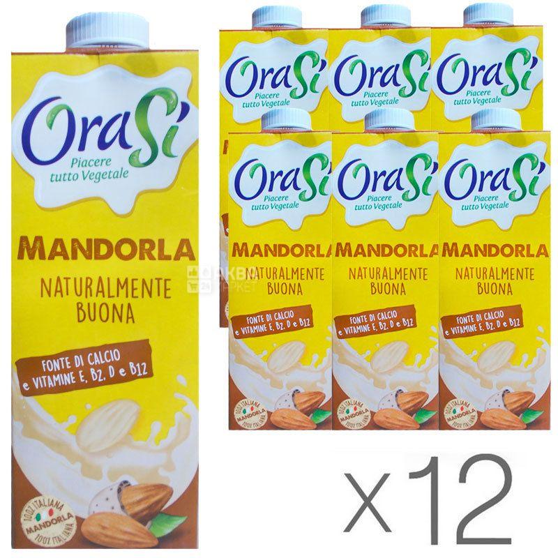 OraSi, Mandorla, 1 л, ОраСі, Мигдальне молоко з вітамінами і кальцієм, Упаковка 12 шт.