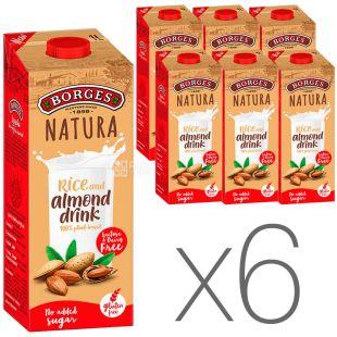Borges, Rice and almond drink, 1 л, Боргес, Напиток на основе миндаля и риса, безлактозный, Упаковка 6 шт.
