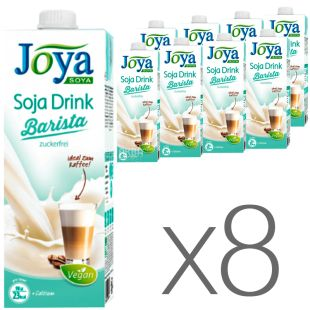 Joya Soja Barista, Pack of 8 1 l each, Joey, Barista Soymilk, calcium, vitamins, sugar and lactose free