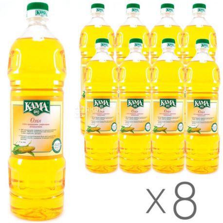 Кама, 1 л, Олія кукурудзяна, рафінована, упаковка 8 шт.