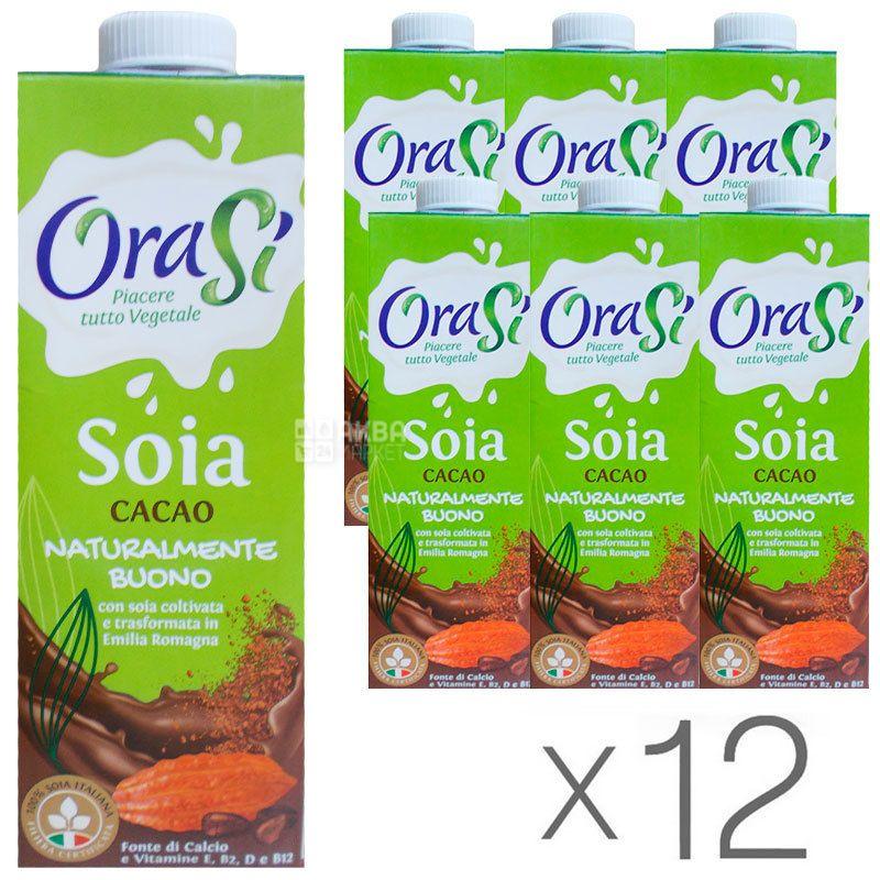 OraSi, Soia Cacao, 1 л, ОраСи, Соевый напиток с какао, витаминизированный, Упаковка 12 шт.