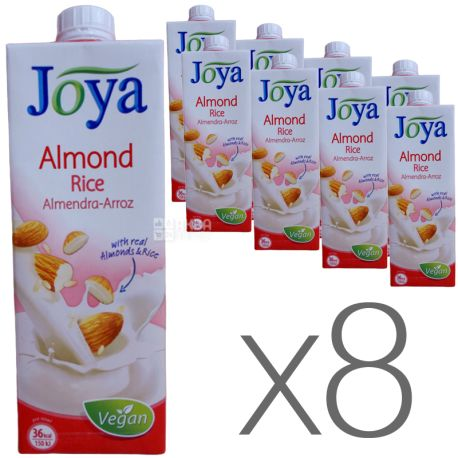 Joya Rice Almond, Упаковка 8 шт. по 1 л, Джоя, Рисово-мигдалеве молоко, органічне