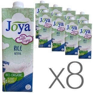 Joya Rice Organic, Упаковка 8 шт. по 1 л, Джоя, Рисове молоко, органічне, без цукру і лактози