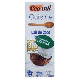Ecomil Cuisine Coconut, 200 ml, Vegetable cream, With coconut milk, For the preparation of cream, Tetra Pak