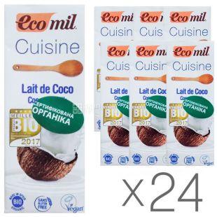 Ecomil, Cuisine Coconut, 200 мл, Экомил, Растительные сливки, С кокосового молока, Упаковка 24 шт.