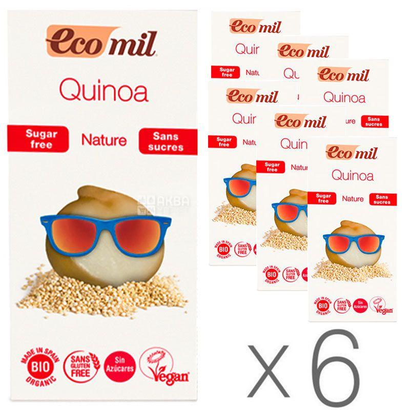 Ecomil, Quinoa, 1 л, Экомил, Растительный напиток с киноа и сиропом агавы, без сахара, Упаковка 6 шт.