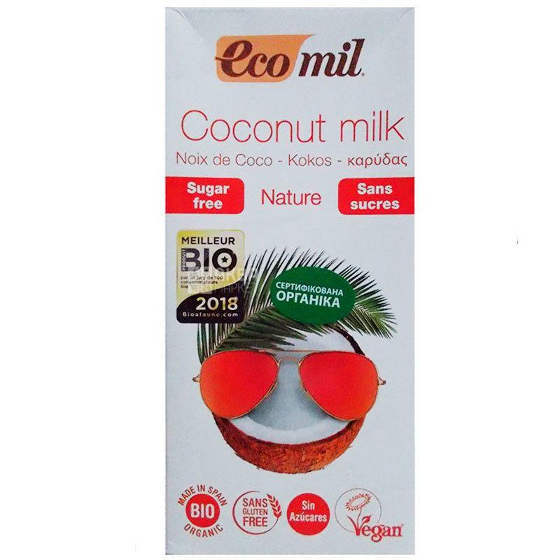 Ecomil, Coconut milk, 1 л, Екоміл, Рослинний напій, Кокос, без цукру