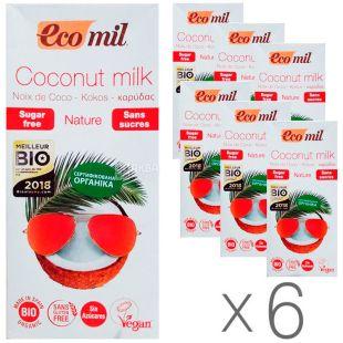 Ecomil, Coconut milk, 1 L, Ekomil, Herbal drink, Sugar-free Coconut, Pack of 6