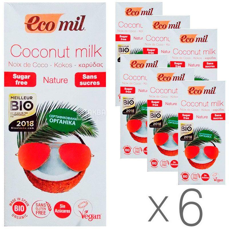 Ecomil, Coconut milk, 1 л, Екоміл, Рослинний напій, Кокос без цукру, Упаковка 6 шт.