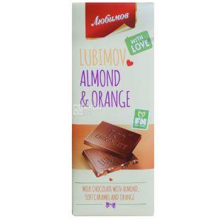 Любимов, Шоколад молочный с миндалем, карамелью и апельсиновой цедрой, 85 г