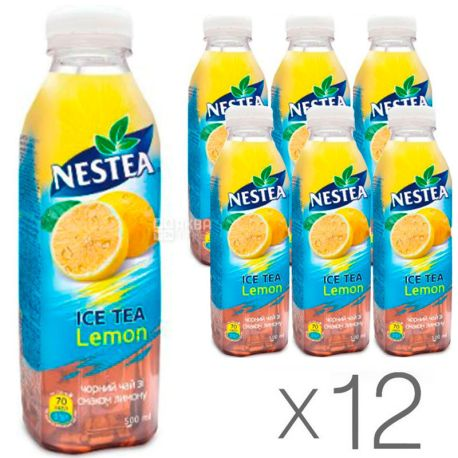 Nestea Lemon, упаковка 12 шт. по 0,5 л, Чай Нести холодний чорний, Лимон