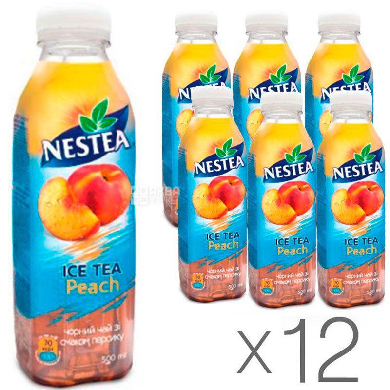 Nestea Peach, упаковка 12 шт. по 0,5 л, Чай Нести холодный черный, Персик