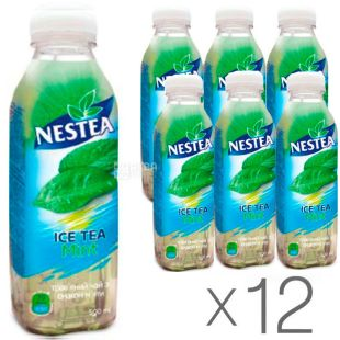 Nestea, Холодный травяной чай со вкусом мяты, 0,5 л, Упаковка 12 шт.