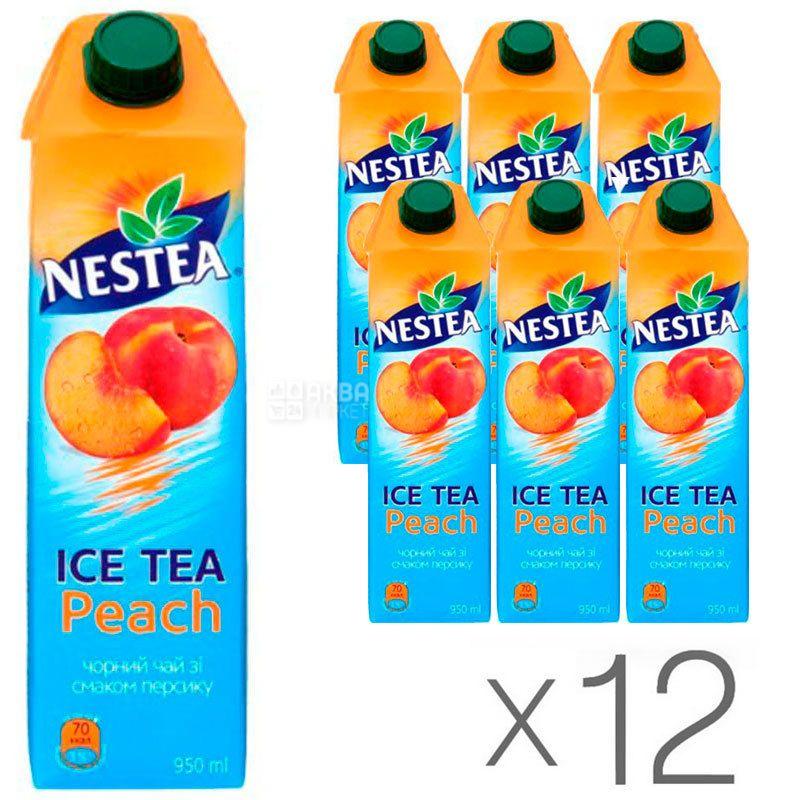 Nestea Peach, упаковка 12 шт. по 0,95 л, Чай Нести холодный черный, Персик