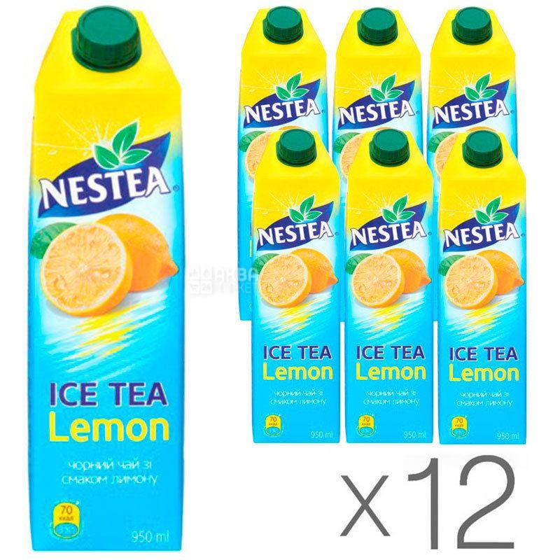 Nestea Lemon, упаковка 12 шт. по 0,95 л, Чай Нести холодный черный, Лимон