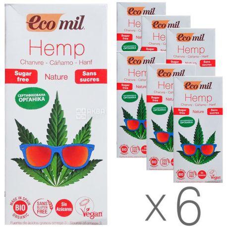 Ecomil, Hemp, 1 л, Екоміл, Рослинний напій, Конопля без цукру, Упаковка 6 шт.