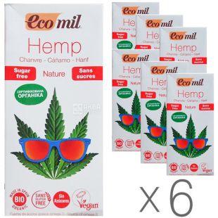Ecomil, Hemp,1 л, Экомил, Растительный напиток, Конопля без сахара, Упаковка 6 шт.